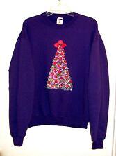 Christmas Tree Sweatshirt Sweater Sz Large Jerzees NuBlend Purple Red Green