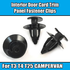 10x CLIPS FOR VW T3 T25 INTERIOR DOOR CARD PANEL TRIM LINING BLACK PLASTIC NEW