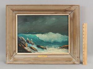 VAL MCGANN Impressionist MAINE Coasta Winter Seas Seascape Seagulls Oil Painting