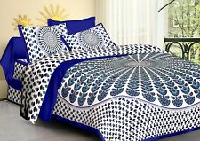 Jaipuri Handmade Printed Mutli Color Cotton Double Bedsheet with 2 Pillow Cover