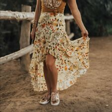 Spell & and The Gypsy Collective Sayulita Frill Split Skirt in Sunflower M S new