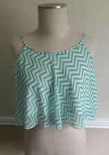 Aqua and white Striped Crop Top Size Small by Rue 21 Women's