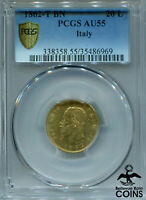 1862-T BN Italy 20 Lire Gold (.900) Coin PCGS Certified AU-55 KM #10.1