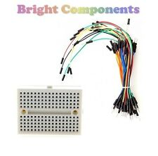 Solderless Prototype Breadboard (170 Points) + 65 Jumper Wires - Electronics