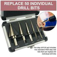 5x HSS Step Steel Cone Drill Titanium Bit Set Kits Hole Cutter and Aluminum Case
