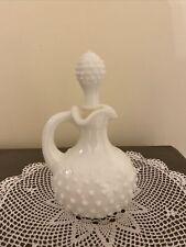 Avon Milk Glass Hobnail White Moonwind Bath Oil Perfume Bottle With Stopper