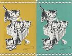 %Vintage Swap / Playing Cards - 2 SINGLE - CATS - IN A BASKET