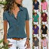 Women Summer Short Sleeve Denim Look T Shirt Blouse Beach Button Pocket Tops Tee