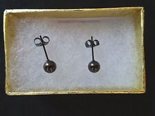 New Stainless Steel Ball Earring Studs - Black