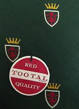 Red Lion Tootal Cravatta Verde Cotone Rosso Qualità STOCK vintage non usato con etichette