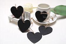 100pcs Heart Wooden Blackboard Chalkboard Wedding Place Card Hanging Gift Tags