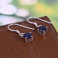 Natural Blue Sapphire Hook Dangle Earrings 925 Sterling Silver Dainty Gift Her