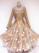 Ballroom Waltz Smooth Competition Dance Dress Flesh  White Floral SmothTan Gown