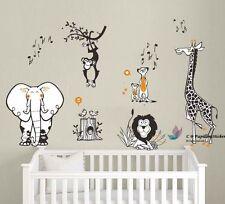 Jungle animaux (lion, éléphant, singe, girafe) baby nursery wall decal sticker décor