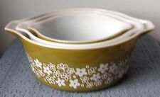 "Pyrex Ovenware ~ CASSEROLE DISHES ~ ""Spring Blossom"" ~ Set of 3 ~ 473B 474B 475B"