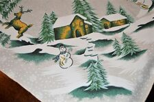 WINTER VILLAGE & DEER IN THE SNOW! VTG GERMAN LARGE PRINT TABLECLOTH CHRISTMAS