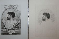 1890 Octave Uzanne portrait gravé par Abot signé deux épreuves rare ensemble
