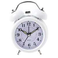 3inch Travel Non-ticking Bedside Alarm Clock Battery Twin Bell Loud Chime Clock