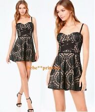 $169 NWT bebe black nude lace floral bustier fit flare top dress S M 6 sexy