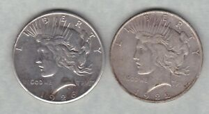 TWO USA 1922D & 1926D SILVER PEACE DOLLARS IN VERY FINE CONDITION