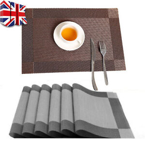 Set Of 6 PVC Place Mats And Coasters Dining Table Placemats Non-Slip Washable 3W
