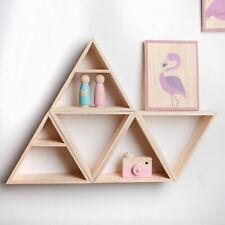 Wall Mount Wooden Triangle Storage Holder Hanging Shelf Baby Nursery Room Decor