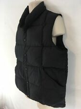 Lands End Mens L Black Goose Down Insulated LightWt Metal Snap Nylon Puffer Vest