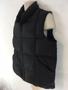 Lands End Mens L Black Goose Down Insulated LightWt Metal Snap Nylon Puffer Vest