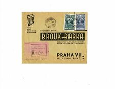 Ethiopia 1935 registered cover Addis Abeba Prague Brouk & Babka Haile Selassie