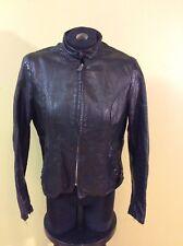 Vintage Brooks Cafe Racer Leather Motorcycle Jacket Gold Label Sz 36 w/Liner