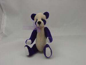 """World of Miniature Bears By Theresa Yang 4""""  Panda Bear Purple #872-PP CLOSING"""