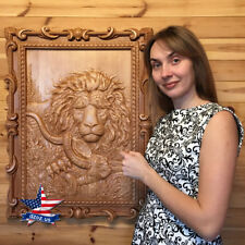 WOOD PICTURE HUNTING ARTWORK-PAINTING-ICON-PANEL-FRAME-LION-DECOR-SCULPTURE-3D