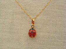 "14k Yellow Gold 17 3/8"" Necklace Small 14k Yellow Gold & Enamel Ladybug Pendant"