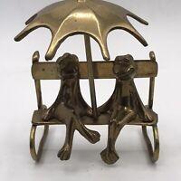 Pair of Brass Frogs on Bench Umbrella  Mid Century Modern Friends Romance Fun!