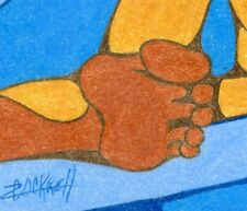 RAC Original FOOT BATH Male Nude Figure Blue Brown Pastel Pencil Art Drawing
