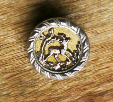 Antique mixed metal button, deer stag in woods, 9/16""