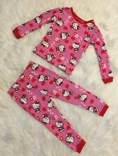 Hello Kitty By Sanrio Girls Size X-Small 4T Pink & Red 2 Pc Long Pajama Set
