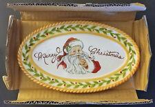Fitz & Floyd Vintage Santa Sentiment Tray