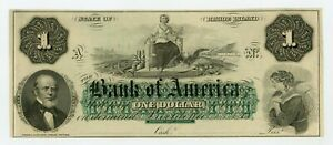 1800's $1 The Bank of America - Providence, RHODE ISLAND Note CU