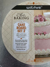 New Sealed Wiltshire Brand Set of 2 Silver Cake Boards 30cm Round & 32cm Square