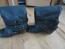 Women's knee length black leather boots size 6M made in brazil