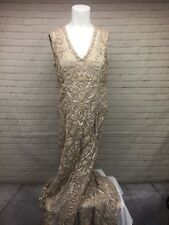 NWT Lotus Threads Size 8 Sequined Long Ribbon Gown in Cream Nude Beige NEW $700