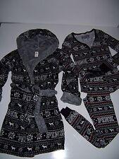 Victoria's Secret PiNK THERMAL Henley top Pajamas Pants Robe SET Fairisle XS/S S