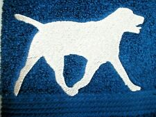 YELLOW LABRADOR SILHOUETTE EMBROIDERED ON A BALTIC BLUE TOWEL