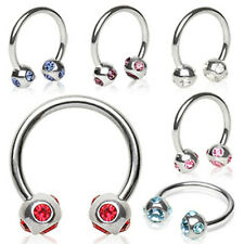 316L Surgical Steel Horse Shoes with 5 Gemmed Ball