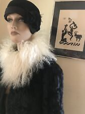Vintage Fur Black Cow Broadtail Women Short Crop Coat Jacket M