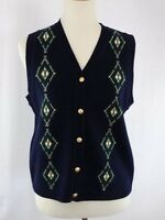 Pendleton Sweater Vest 100% Lambs Wool Navy Blue Button Up Women's Small