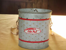 VINTAGE OLD PAL WOODSTREAM CORP LITITZ PA GALVANIZED OVAL FISHING BAIT CAN PAIL
