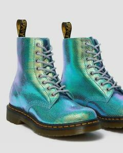 Dr. Martens Womens Pascal Iridescent Blue Boots Size 6US New in box