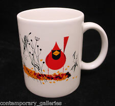 New Charley Harper Imprinted Red & Fed Cardinal White Coffee Mug Cup